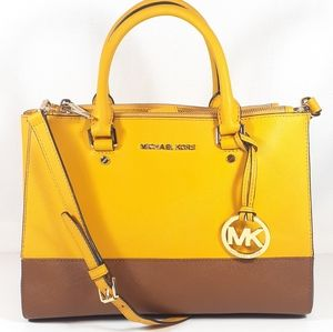 Michael Kors Sutton Satchel Purse Yellow Brown Bag